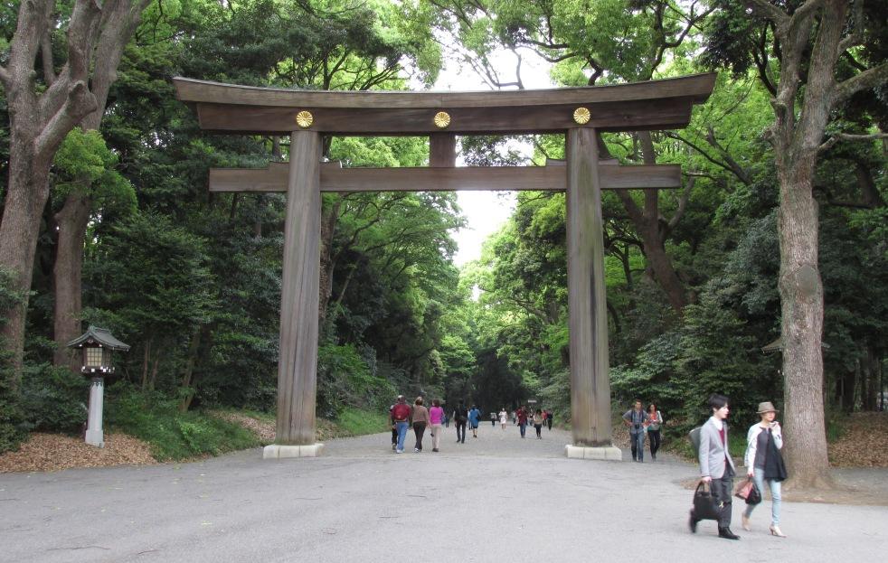 torri gate at Meiji shrine.